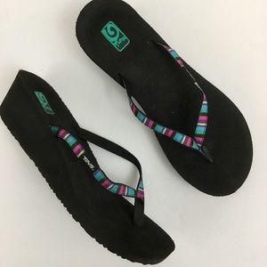 Teva Mush Rainbow Striped Wedge Flip Flops Sandals